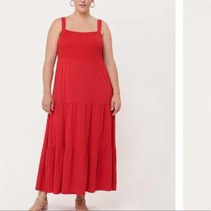 LOFT Plus Smocked Tiered Maxi Dress